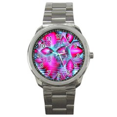 Ruby Red Crystal Palace, Abstract Jewels Sport Metal Watch by DianeClancy