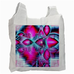 Ruby Red Crystal Palace, Abstract Jewels White Reusable Bag (two Sides) by DianeClancy