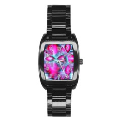 Ruby Red Crystal Palace, Abstract Jewels Stainless Steel Barrel Watch by DianeClancy