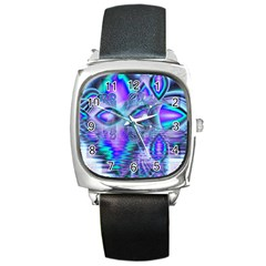 Peacock Crystal Palace Of Dreams, Abstract Square Leather Watch by DianeClancy