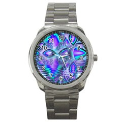 Peacock Crystal Palace Of Dreams, Abstract Sport Metal Watch by DianeClancy