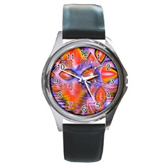 Crystal Star Dance, Abstract Purple Orange Round Leather Watch (silver Rim) by DianeClancy