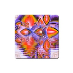 Crystal Star Dance, Abstract Purple Orange Magnet (square) by DianeClancy