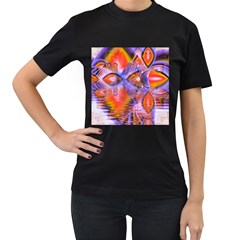 Crystal Star Dance, Abstract Purple Orange Women s Two Sided T Shirt (black) by DianeClancy