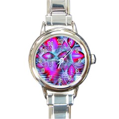Crystal Northern Lights Palace, Abstract Ice  Round Italian Charm Watch by DianeClancy