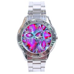 Crystal Northern Lights Palace, Abstract Ice  Stainless Steel Watch by DianeClancy