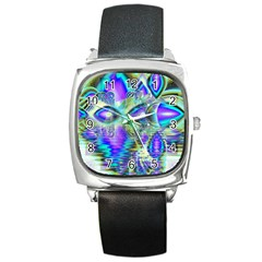 Abstract Peacock Celebration, Golden Violet Teal Square Leather Watch by DianeClancy