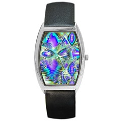 Abstract Peacock Celebration, Golden Violet Teal Tonneau Leather Watch by DianeClancy