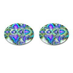 Abstract Peacock Celebration, Golden Violet Teal Cufflinks (oval) by DianeClancy