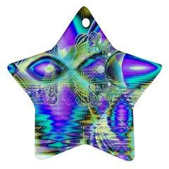 Abstract Peacock Celebration, Golden Violet Teal Star Ornament (two Sides) by DianeClancy