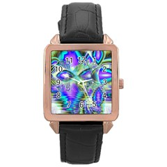 Abstract Peacock Celebration, Golden Violet Teal Rose Gold Leather Watch  by DianeClancy