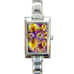 Golden Violet Crystal Palace, Abstract Cosmic Explosion Rectangular Italian Charm Watch by DianeClancy