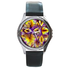 Golden Violet Crystal Palace, Abstract Cosmic Explosion Round Leather Watch (silver Rim) by DianeClancy