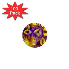 Golden Violet Crystal Palace, Abstract Cosmic Explosion 1  Mini Button Magnet (100 Pack) by DianeClancy