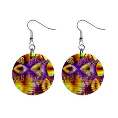 Golden Violet Crystal Palace, Abstract Cosmic Explosion Mini Button Earrings by DianeClancy