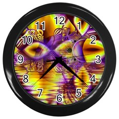 Golden Violet Crystal Palace, Abstract Cosmic Explosion Wall Clock (Black)