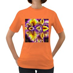 Golden Violet Crystal Palace, Abstract Cosmic Explosion Women s T Shirt (colored) by DianeClancy