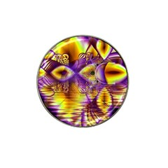 Golden Violet Crystal Palace, Abstract Cosmic Explosion Golf Ball Marker (for Hat Clip)