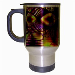 Golden Violet Crystal Palace, Abstract Cosmic Explosion Travel Mug (silver Gray) by DianeClancy