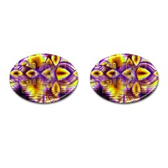 Golden Violet Crystal Palace, Abstract Cosmic Explosion Cufflinks (oval) by DianeClancy