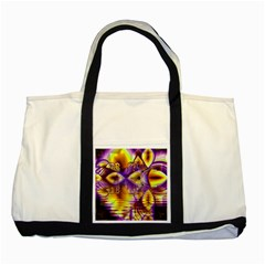 Golden Violet Crystal Palace, Abstract Cosmic Explosion Two Toned Tote Bag by DianeClancy
