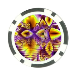 Golden Violet Crystal Palace, Abstract Cosmic Explosion Poker Chip by DianeClancy