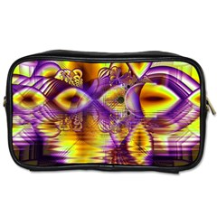 Golden Violet Crystal Palace, Abstract Cosmic Explosion Travel Toiletry Bag (one Side) by DianeClancy