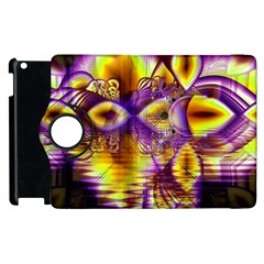 Golden Violet Crystal Palace, Abstract Cosmic Explosion Apple Ipad 2 Flip 360 Case by DianeClancy
