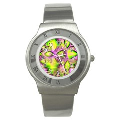 Raspberry Lime Mystical Magical Lake, Abstract  Stainless Steel Watch (slim) by DianeClancy