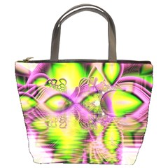 Raspberry Lime Mystical Magical Lake, Abstract  Bucket Handbag by DianeClancy