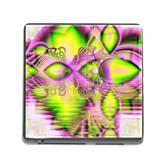 Raspberry Lime Mystical Magical Lake, Abstract  Memory Card Reader With Storage (square) by DianeClancy