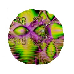 Raspberry Lime Mystical Magical Lake, Abstract  15  Premium Round Cushion  by DianeClancy