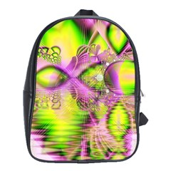 Raspberry Lime Mystical Magical Lake, Abstract  School Bag (xl) by DianeClancy