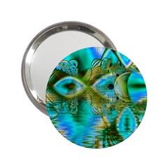 Crystal Gold Peacock, Abstract Mystical Lake Handbag Mirror (2 25 ) by DianeClancy