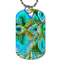 Crystal Gold Peacock, Abstract Mystical Lake Dog Tag (one Sided) by DianeClancy