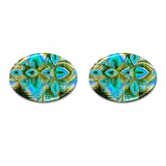 Crystal Gold Peacock, Abstract Mystical Lake Cufflinks (oval) by DianeClancy