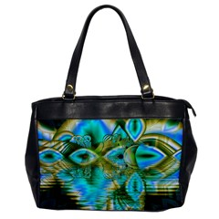 Crystal Gold Peacock, Abstract Mystical Lake Oversize Office Handbag (one Side) by DianeClancy