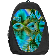 Crystal Gold Peacock, Abstract Mystical Lake Backpack Bag