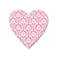White On Soft Pink Damask Magnet (Heart) by Zandiepants