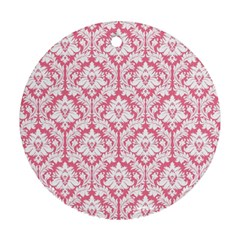White On Soft Pink Damask Round Ornament (two Sides) by Zandiepants