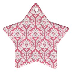 White On Soft Pink Damask Star Ornament (Two Sides) by Zandiepants