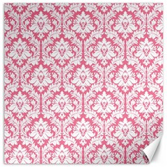 White On Soft Pink Damask Canvas 12  x 12  (Unframed) by Zandiepants