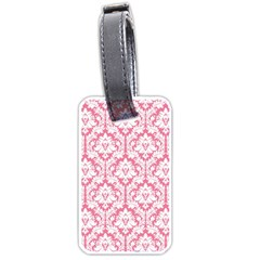 White On Soft Pink Damask Luggage Tag (two Sides) by Zandiepants