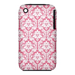 White On Soft Pink Damask Apple Iphone 3g/3gs Hardshell Case (pc+silicone) by Zandiepants