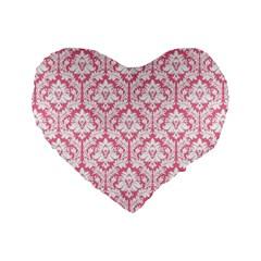 soft Pink Damask Pattern Standard 16  Premium Heart Shape Cushion  by Zandiepants