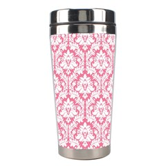White On Soft Pink Damask Stainless Steel Travel Tumbler by Zandiepants