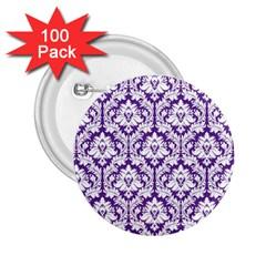 White On Purple Damask 2 25  Button (100 Pack) by Zandiepants