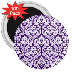 White on Purple Damask 3  Button Magnet (100 pack) by Zandiepants