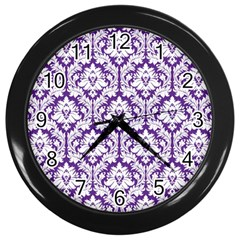 White On Purple Damask Wall Clock (black) by Zandiepants