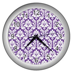 White On Purple Damask Wall Clock (silver) by Zandiepants